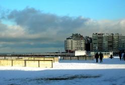 Knokke beach seen in winter
