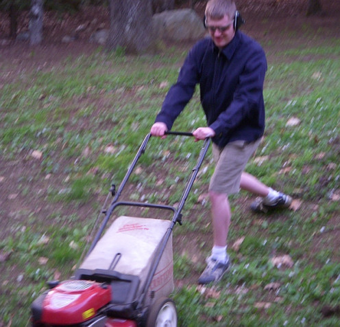 'Steve' mowing the lawn.