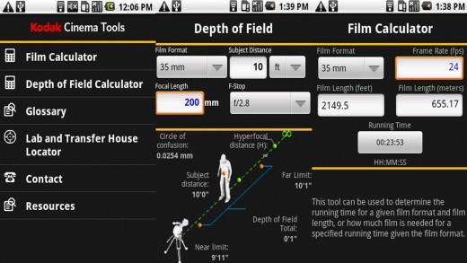 Kodak Cinema Tools user interface