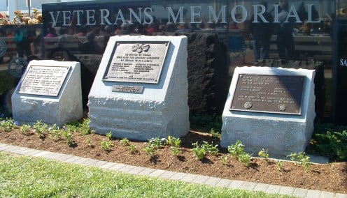 The Veterans Memorial in Rehoboth Beach, DE, is next to the bandstand and is often the site of Veteran Memorial Services during patriotic holidays like Memorial and Labor Day.
