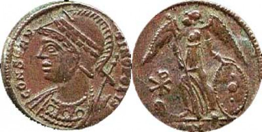 Constantine I Constantinopolis, A Commemorative Coin with the  Winged Victory (Satan?) and the Chi Rho sign