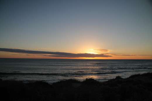 Sunset over the Indian Ocean at Dongara, Western Australia.