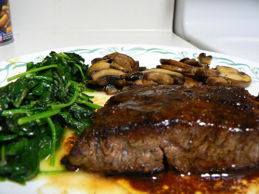 Steak and mushrooms make a nice entree.