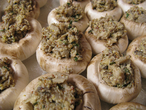 Stuffed mushrooms ready to go in the oven.