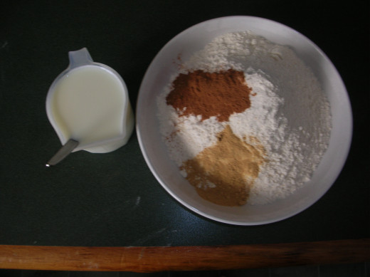 Baking soda dissolved in milk and dry ingredients.