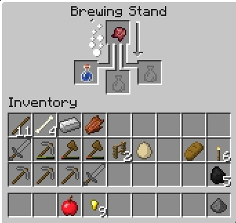 The brewing recipe for potion of weakness.