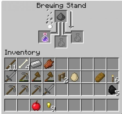 The brewing recipe for Splash Potion of Weakness.