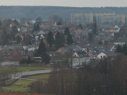 Meeting point of Germany, Belgium and The Netherlands. The picture shows Vaalser Straße, Aachen. The high buildings in the background are on Dutch territory.