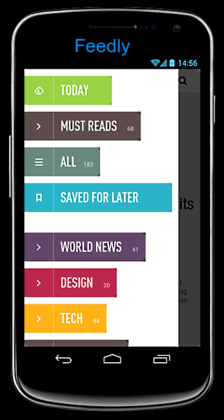 Feedly on a Smartphone showing the Categories