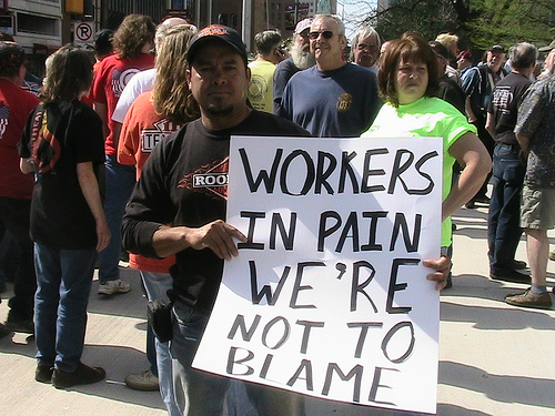 A building trades rally for unemploymnt insurance reform in Indiana, 2009.