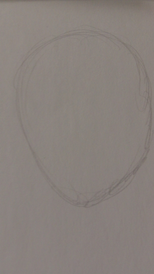 Draw a standard oval shape for the head