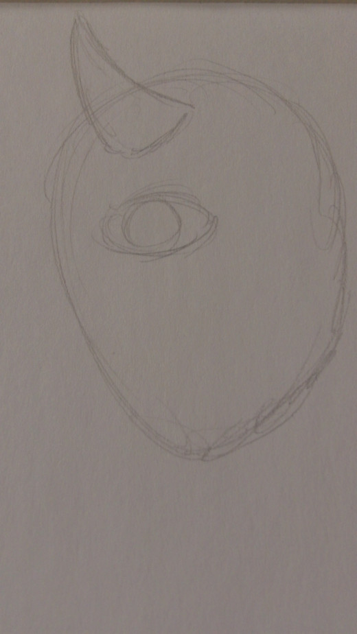 Draw an eye and a basic horn shape on the top of it's head