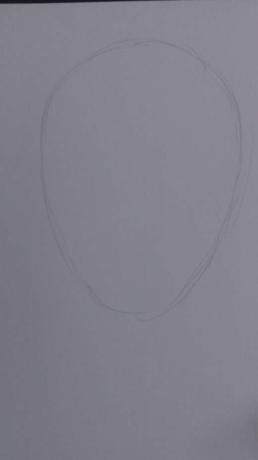 Draw a nice oval shape to develop for the evil clown head