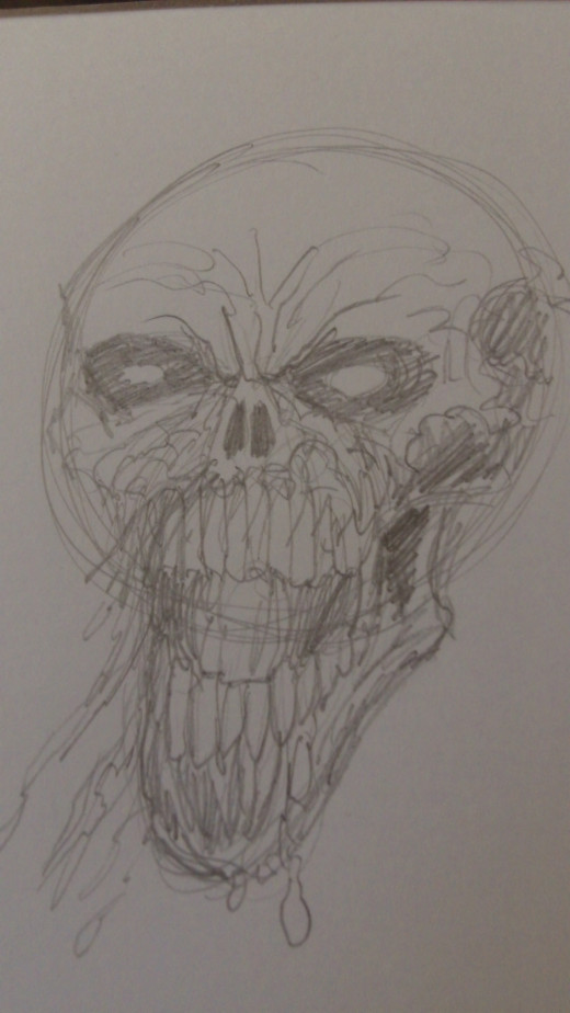 Here's a close up of the horror skull pencil drawing