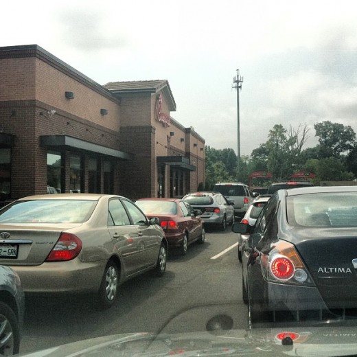 Two cars wide, 20 cars long. That is 40 cars in 15 minutes, and yet, people wait.