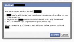Facebook asks for confirmation