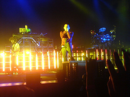 Linkin Park performing at a Concert
