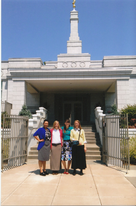 My second area missionary companion and I with the other sisters of our district, standing outside the St. Paul Temple.  From right to left: Sis Broom, Sis Johnson (my buddy), Sis Elscholz (Sis Broom's buddy), and me, Sis Knight