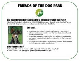 Become a Volunteer - Cedar Park Bark Park - Cedar Park TX