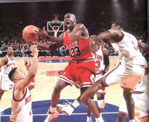 Michael Jordan glides through the lane against the New York Knicks.