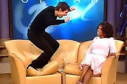 Tom Cruise appeared on The Oprah Winfrey Show and acted wild.