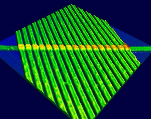 The Mysterious Memristor-The atomic force microscope image shows 17 memristors in a single row.The wires in this image are 50nm, or about 150 atoms, wide.