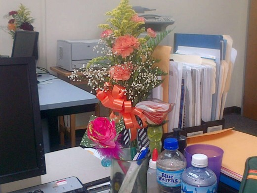 """Mother's day flowers given to me at work"""