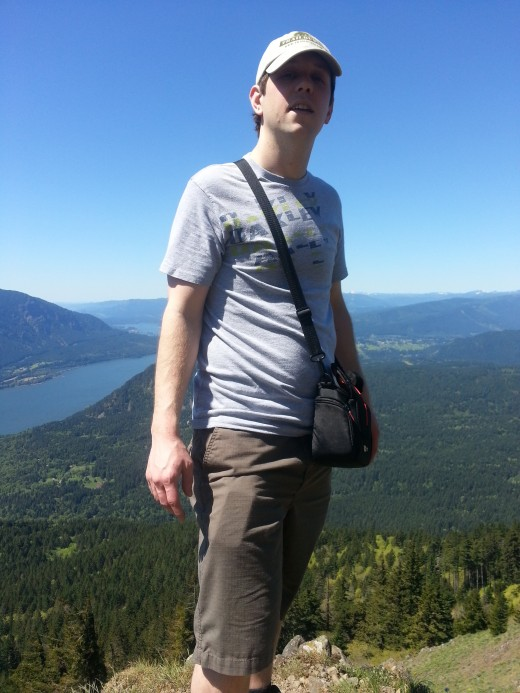 TJ enjoying the view of the Columbia River Gorge below.