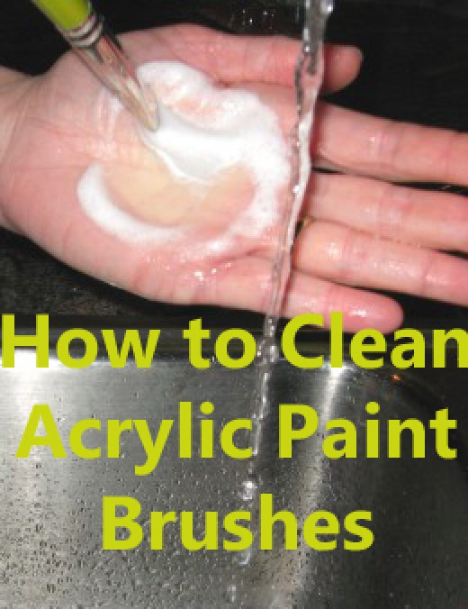 To learn more about how to clean acrylic paint brushes click on the source link for this photo.