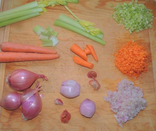 left to right, top to bottom veggie prep--fine dice