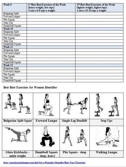 Best Butt Workouts For Women  Free Printable  Week Butt Workout