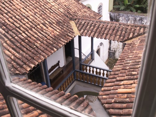 View of an old Brazilian Portuguese House with a courtyard (Casa da Moeda do Brasil).  This house at one time also housed slaves who were kept underground.