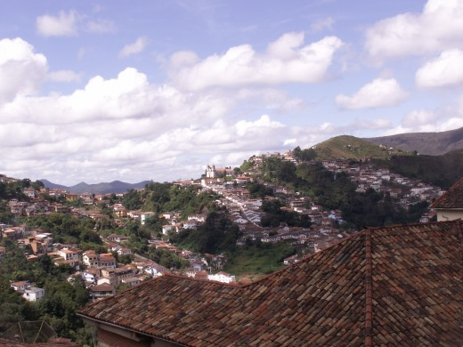 View of the town of the idyllic town of Ouro Preto which is a few hours drive from Belo Horizonte, Brazil.  You can clearly see the quiet mountain setting.  The streets are made of cobblestone.