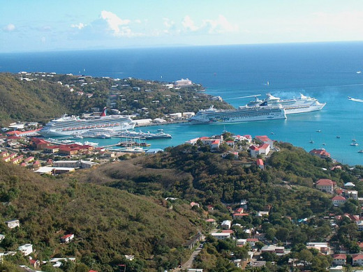 Cruise ships in Charlotte Amalie Harbor, Saint Thomas, U.S. Virgin Islands
