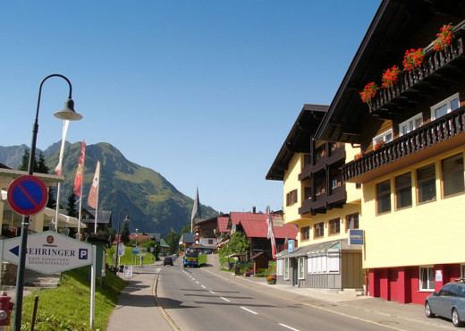 A quiet street in an Austrian town