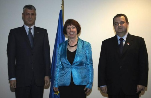 Hashim Taqui on left, mediator Lady Kathrine Ashton, and prime-minister of Serbia: Mr. Ivica Dačić