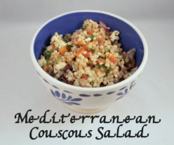 Mediterranean Couscous Primavera Salad Recipe with Feta, Olives, and Veggies