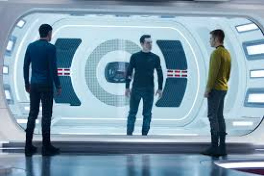 Spock (Zachary Quinto) and Kirk (Chris Pine) confront John Harrison (Benedict Cumberbatch) and interrogate him in this scene from Star Trek Into Darkness