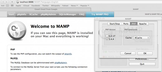 MAMP, a website server, locally installed to my laptop computer with PHP   5.3 installed