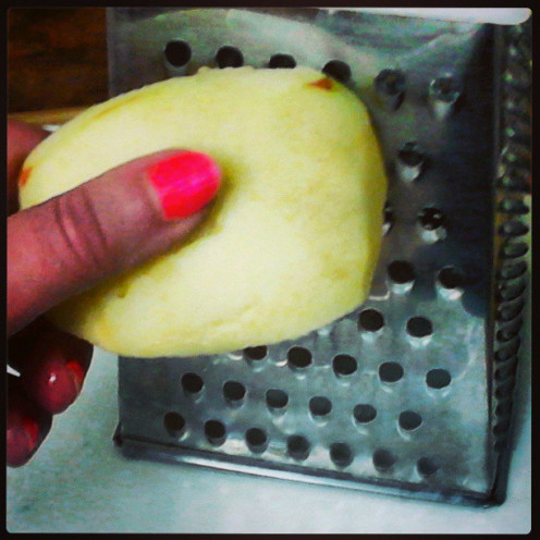 Slice, Core and Shred Apples through cheese grater.