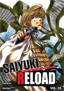 Saiyuki Reload volume 1 DVD cover featuring Genjo Sanzo, the leader of the Sanzo-ikkou. He's a monk who smokes, kills and drinks