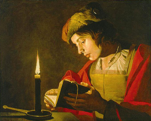 Young man reading by candlelight Matthias Storm 1600-1650 (Public Domain image - Copyright expired)