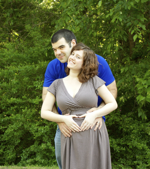 My pregnant wife and I.