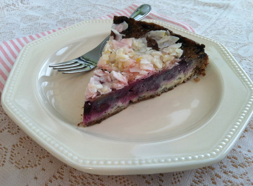 GF and cow milk free, this blueberry gateau surprises taste buds with savory goat cheese and basil.