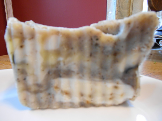 Coconut lavender marble soap.