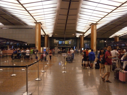Near check-in counters inside Changi Airport
