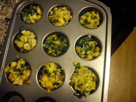 "Peggy W's ""Spinach Balls"", results of my second attempt. I used a mini muffin pan instead of a baking sheet"
