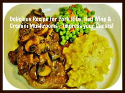 Scrumptious Recipe for Pork Ribs ~ Red Wine Recipe with Cremini Mushrooms