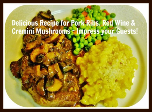 Pork Garda Rosso served with creamy risotto & peas with diced red pepper.