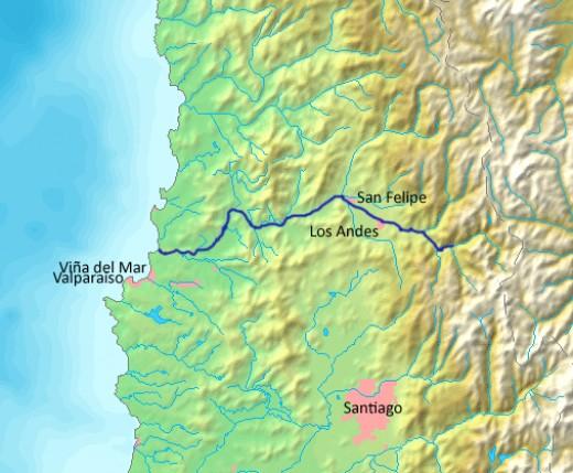The Aconcagua Valley, the most southern of the transverse valleys of Chile